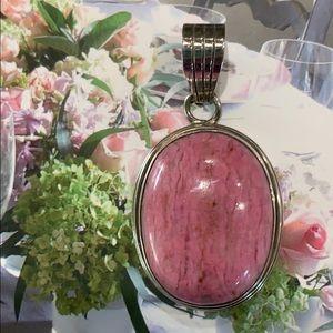 Vibrant Pink Stone & Sterling Pendant 💕